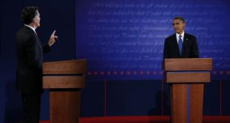 It looked like Mitt Romney on stage but it wasn't:: Obama