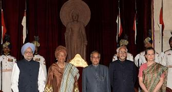 Indira Gandhi peace prize given to Liberian president