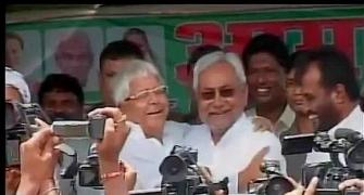 In reunion after 23 years, Nitish, Lalu hug, share 'chai'