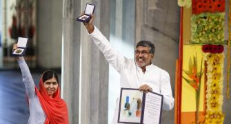 Champions of peace Satyarthi, Malala receive Nobel Peace Prize