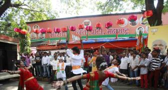 PHOTOS: It's band, bajaa and barfi for BJP