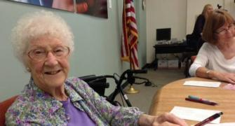 Like! She just turned 107 and she's on Facebook