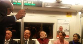 PHOTOS: Hollande's 'metro pe charcha' with PM Modi