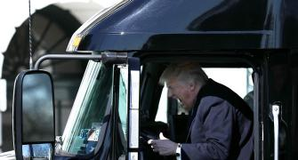 Trump sits in a truck, Twitter goes into overdrive