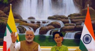 PM Modi presents Suu Kyi copy of her research proposal