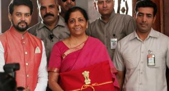 Sitharaman discards briefcase, carries 'bahi-khata'