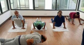 Amid crisis, JD-S MLAs de-stress with yoga