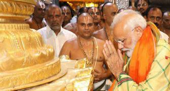 PHOTOS: Modi offers prayers at Tirupati shrine