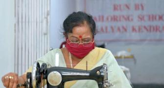 First Lady Savita Kovind stitches face masks