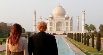Donald, Melania enjoy romantic walk at Taj Mahal