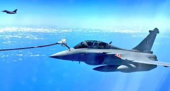 PHOTOS: On way to India, Rafales re-fuelled mid-air