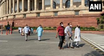 Opposition members in Rajya Sabha stage walkout