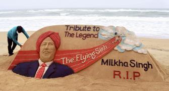 On Puri beach, a tribute to Milkha Singh