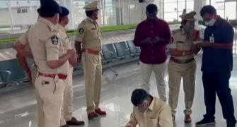 TDP chief detained at Tirupati airport, stages protest