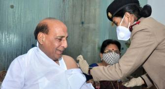 PIX: Rajnath, others netas receive Covid vaccine
