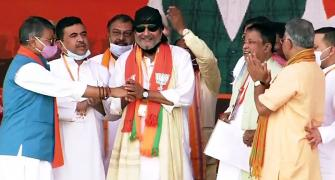 Mithun Chakraborty joins BJP at Kolkata rally
