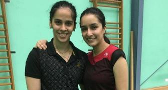 Saina teaches Shraddha badminton!