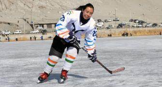 PIX: Ladakhis take to ice hockey on frozen lakes