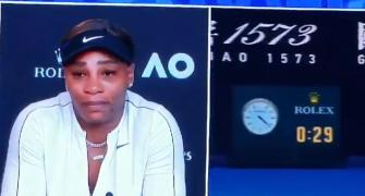 Serena breaks down at press conference