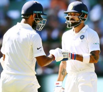 PHOTOS: Agarwal, Pujara give India upperhand on opening day