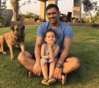 WATCH! Dhoni spends some quality time with family