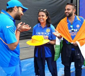 Hit in stands by Rohit six, fan gets autographed hat