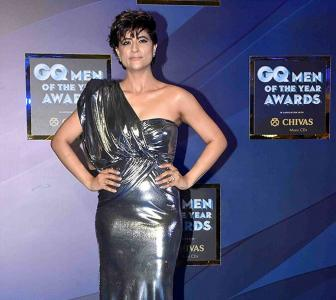 Must-see! Tahira goes bold in a metallic gown