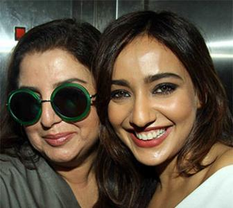 PIX: Farah Khan watches a film with Neha Sharma