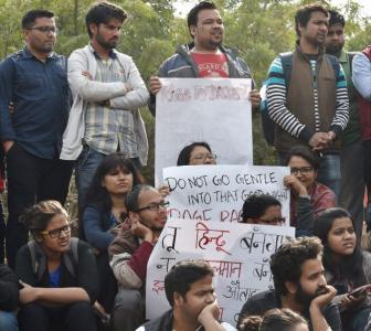 While JNU teachers boycott classes, VHP, Bajrang Dal protest outside