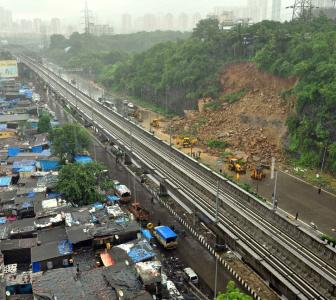 PHOTOS: Landslide on WEH after heavy rain in Mumbai