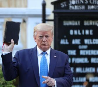 Trump visits church that was set on fire by protesters