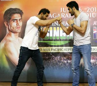 Vijender does the 'Dishoom' with John ahead of title bout