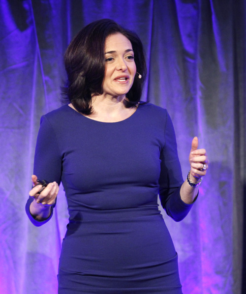 Facebook Chief Operating Officer Sheryl Sandberg delivers a keynote address at Facebook's fMC global event for marketers in New York City.