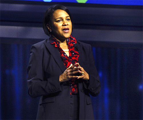 Sam's Club CEO Rosalind Brewer during the annual Wal-Mart shareholders' meeting in Fayetteville, Arkansas.