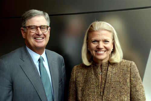 Sam Palmisano and Virginia M Rometty are seen at IBM's corporate headquarters in Armonk, New York.