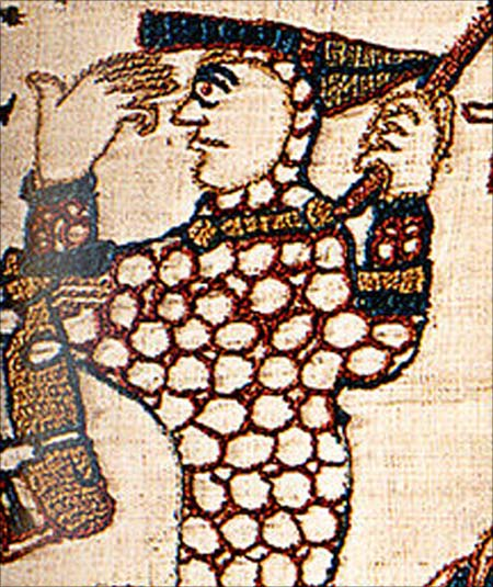 William as depicted in the Bayeux Tapestryduring the Battle of Hastings, lifting his helm to show that he is still alive.