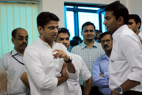 Minister of State for Communications & Information Technology Sachin Pilot at the Startup Village office.