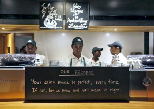 Starbucks' new outlet in Delhi