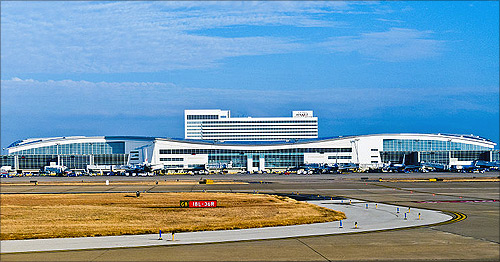 Terminal D and Grand Hyatt Hotel at Dallas Fort Worth International Airport.
