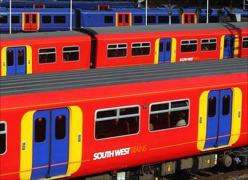 South West Trains passes through Clapham Junction Station in London.