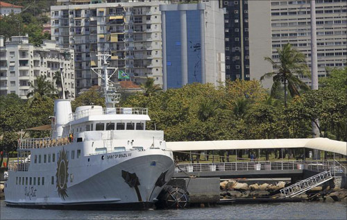 A view of the Spirit of Brazil VII, part of the Pink Fleet line of luxury cruise ships belonging to the EBX Group of Brazilian billionaire Eike Batista, in Rio de Janeiro.