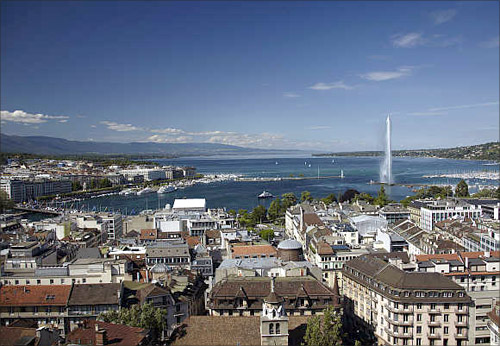 A view of the Jet d'Eau (water fountain) and the Lake Leman from the St-Pierre Cathedrale in Geneva, Switzerland.