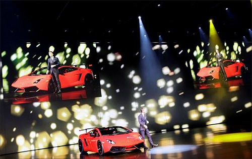 Stephan Winkelmann, CEO of Lamborghini, presents the new Gallardo super sports car during the Volkswagen car group preview show before the international car show 'IAA' in Frankfurt, Germany.