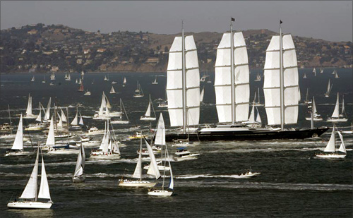 The Maltese Falcon, a clipper sailing luxury yacht owned by U.S. venture capitalist Tom Perkins, sails into San Francisco Bay.