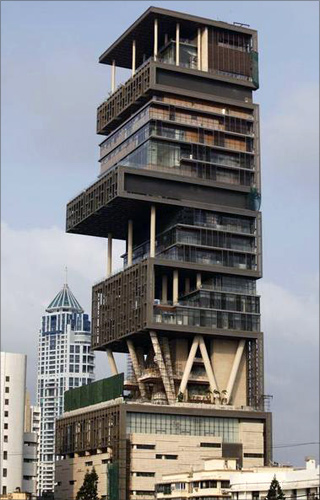 A view of the new house of Mukesh Ambani, chairman of Indian energy company Reliance Industries, in Mumbai.