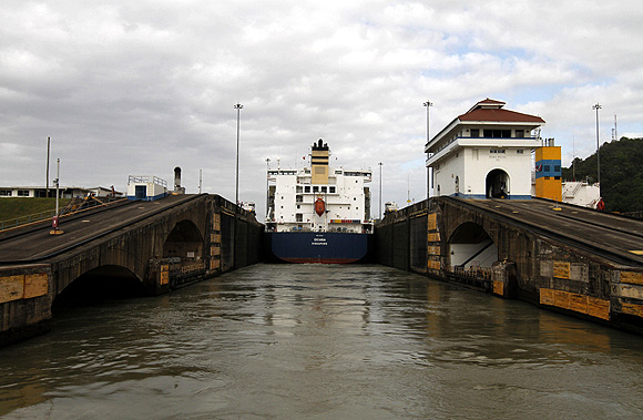 A cargo ship is seen at the Pedro Miguel lock on the pacific side of the Panama Canal in Panama City.