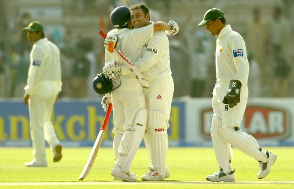 Virender Sehwag and Sachin Tendulkar during the course of the triple century against Pakistan in 2004