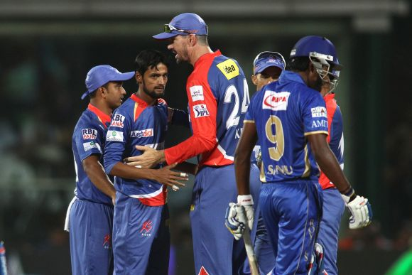 Delhi Daredevils players celebrate after picking up a wicket