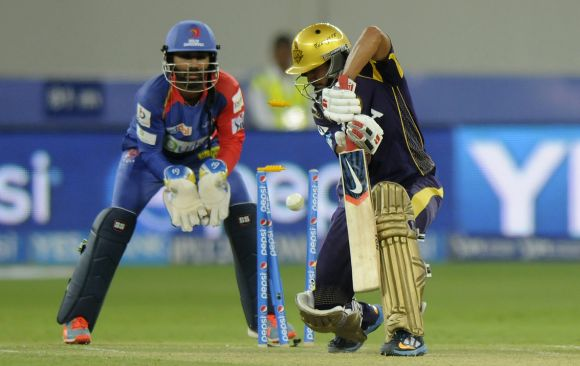 Manish Pandey is clean bowled by Shahbaz Nadeem
