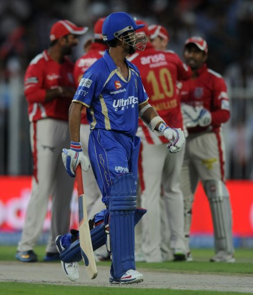 Ajinkya Rahane walks back to the pavillion after being run out